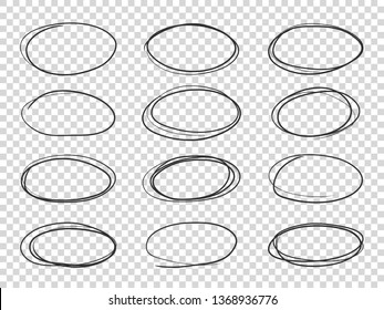 Doodle circles. Hand drawn ellipse, circular highlights old pencil sketch isolated set
