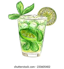 Doodle cocktail with mint and lime