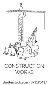 Doodle construction works sign illustration