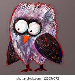 doodle crazy owl, digital painting illustration