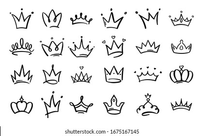 Doodle crowns. Line art king or queen crown sketch, fellow crowned heads tiara, beautiful diadem and luxurious decals  illustration set. Royal head accessories linear collection