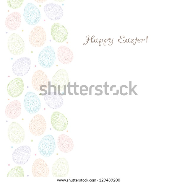 Doodle decorative eggs for Easter background. Raster.