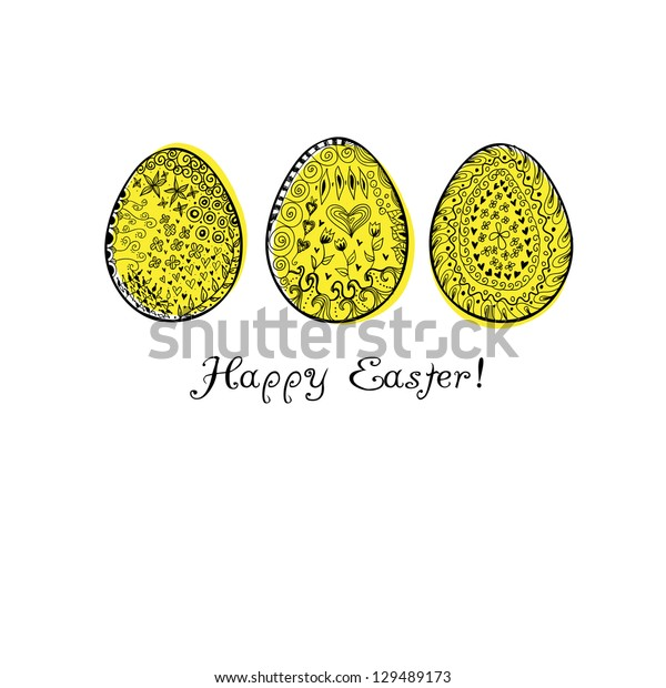 Doodle decorative eggs for Easter. May be used as an invitation or a foliage for different printings. Raster.