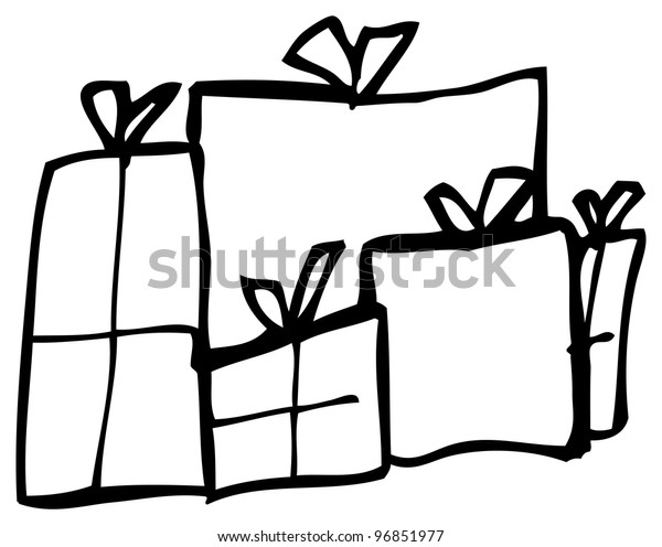 Drawings Of Christmas Presents.Doodle Drawing Christmas Presents Stock Illustration 96851977