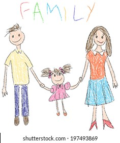 Doodle Drawing of a happy family with child and her parents in kindergarten style