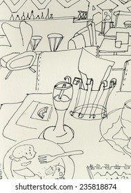 Doodle of eating table in restaurant