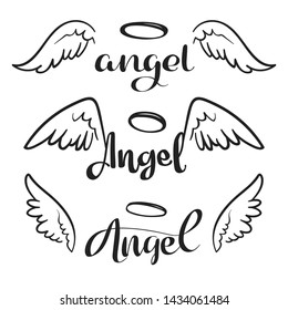 Doodle flying angel wings with halo. Sketch angelic wings. Freedom and religious tattoo design isolated on white background. Feather wing flying, heavenly and angelic emblem illustration