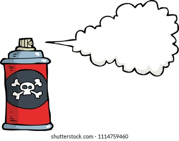 Doodle gas bottle with poison on a white background raster version illustration