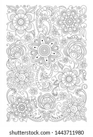 Doodle graphic leaves and flowers, coloring page for adults, art therapy, antistress, zentangle abstract patterns.