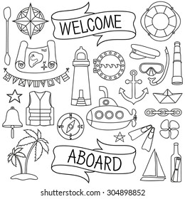 Doodle hand drawn nautical decor set. Chalk board effect. Graphic design elements for baby shower or wedding invitation, birthday card, sea sailing vacation flyers, scrapbooking.