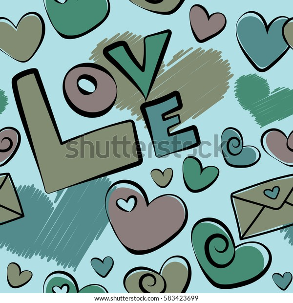 Doodle hearts, love text and letter. Abstract seamless heart pattern in blue and green colors.