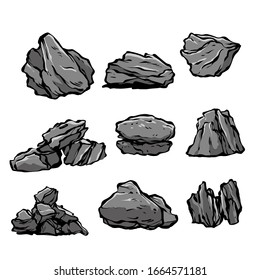 doodle illustration of the concept of shape. stones