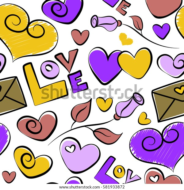 Doodle illustration on white background. Holiday background. Rose, hearts and love seamless pattern in violet and yellow colors.