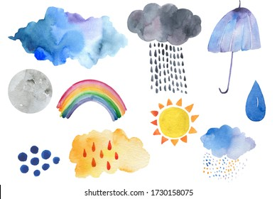 Doodle illustration of weather icons - cute decoration. Little rainbow and clouds, cute characters set, posters for nursery room, greeting cards, kids and baby clothes. Isolated .