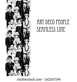 Doodle people in art deco style seamless line background. Raster.