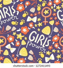 doodle seamless pattern with concept lettering and flowers, bows, symbols. Girl power, trendy illustration. Scandinavian style.