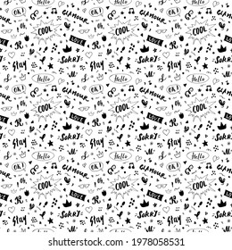 Doodle Seamless Pattern, hand drawn pop art signs and symbols background, Illustration.