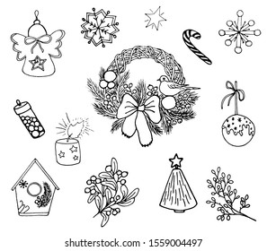 Doodle set: wreath of Christmas tree branches, Christmas toys and with a bird. Angel, snowflakes, lollipop, cake pop, Christmas tree. For icons, children's illustrations, cards, gift wrapping.