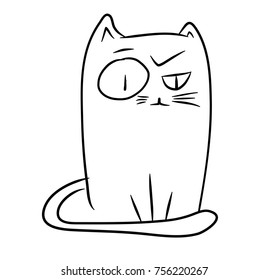 Doodle sketch of a funny sitting cat. Hand drawn contour illustration in black isolated over white.