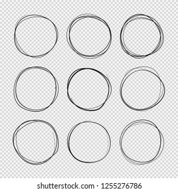 Doodle sketched circles. Hand drawn scribble rings isolated set