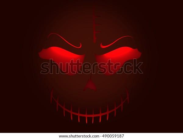 Doodle Skull Evil Laugh Simple Silhouette Stock Illustration