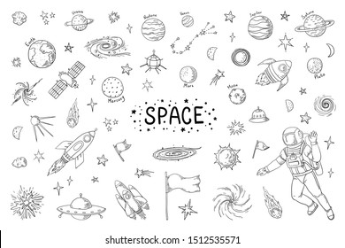 Doodle space. Trendy universe pattern, star astronaut meteor rocket comet astronomy elements. cosmic pencil sketch elements drawing
