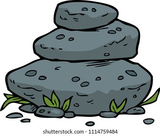 Doodle stacked stones on a white background raster version illustration