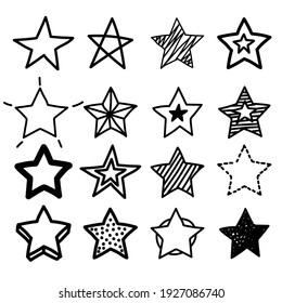 Doodle star. Hand drawn scribble sketch icons. grunge line handdrawn stars.