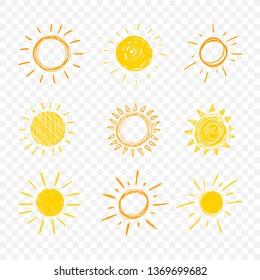 Doodle Sun, Set of Hand Drawn Funny Icons Isolated on Light Transparent Background.