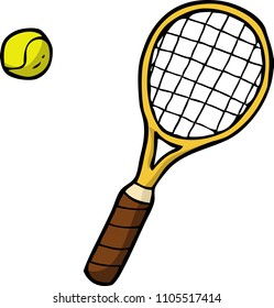 Doodle tennis racket and ball on a white background illustration