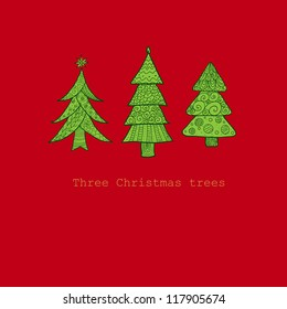 Doodle textured Christmas trees-baubles background. Raster.