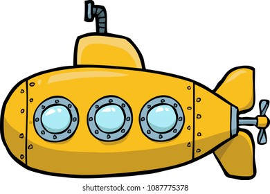 Doodle yellow submarine on a white background raster version