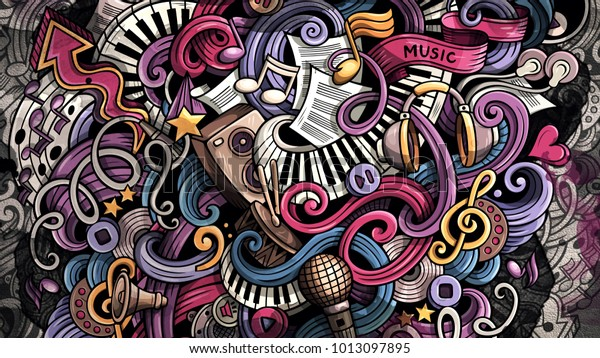 Doodles Musical Illustration Creative Music Background Stock