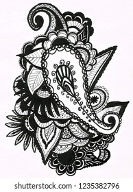 Doodlind with paisley, abstract elements, flowers and leafs