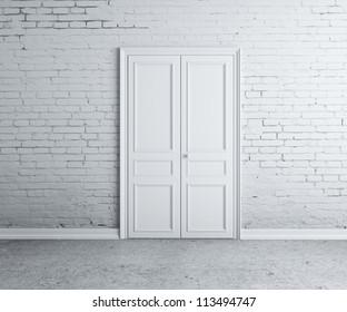 door in the brick white  wall