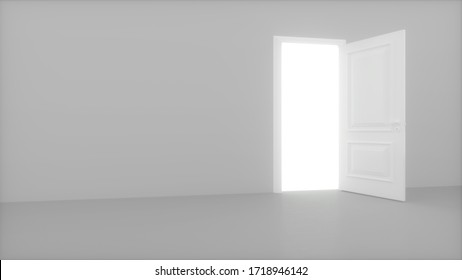 Door in a bright white room opens and fills the space with bright white. 3D render opening door.