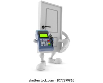 Door character holding credit card reader isolated on white background. 3d illustration
