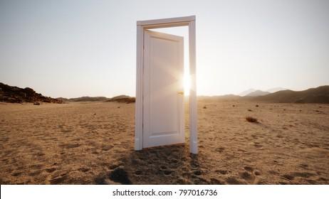 Door in emptiness. 3D illustration. Concept of hope and solitude.