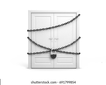 Door entangled chains closed on padlock. 3d illustration