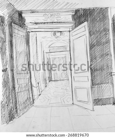door pencil drawing entrance door door in gallery pencil sketch gallery pencil sketch stock illustration 268819670 shutterstock