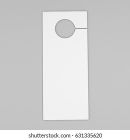 Door hanger flyer white tags for room in hotel, resort, home isolated on grey background for design template. Highly detailed 3d render illustration.