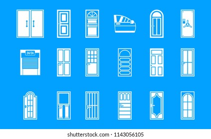 Door icon set. Simple set of door icons for web design isolated on blue background