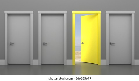 The Door into Summer. Door black and white. Four doors in different colors. 3d illustration Four doors in different colors.