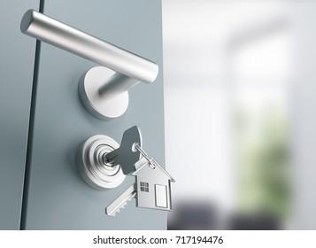 Door with keys, new home, lock, 3d render illustration