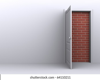 Door to nowhere on in a white room, no way out