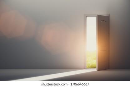 Door open to new better world, positive optimistic future. Hope concept. 3D illustration