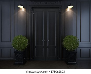door and plants in vases