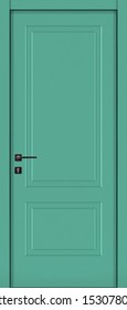 Door texture, pastel turquoise color (RAL 6034) for modern interior front view  3D render.