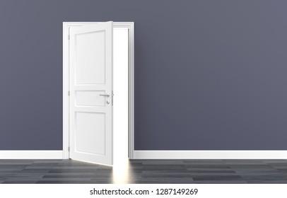 door white open light 3D illustration