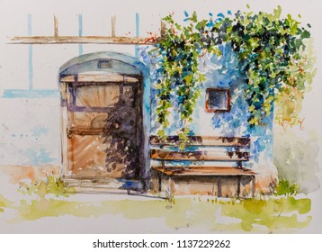 Door to wine cellar in old building in Styria, Slovenia. Picture created with watercolors.